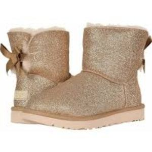 Ugg Mini Bailey Bow Sparkle Boots 9M New